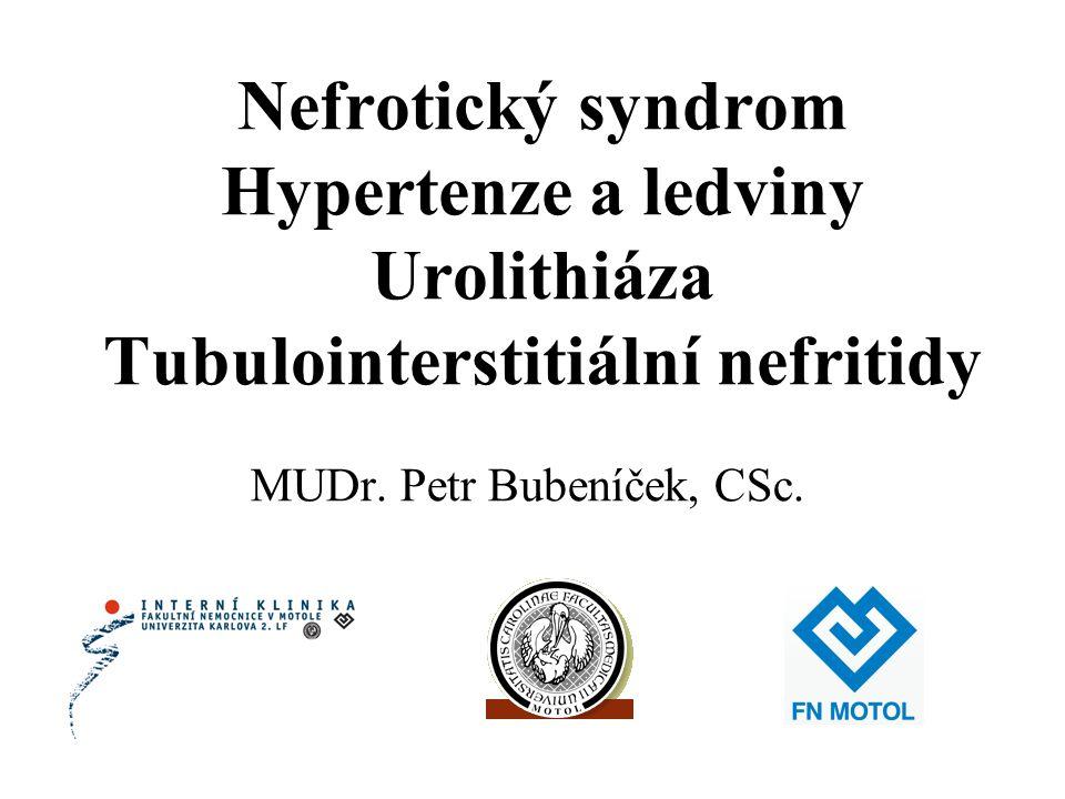 Nefrotický syndrom Hypertenze a ledviny Urolithiáza Tubulointerstitiální nefritidy MUDr. Petr Bubeníček, CSc.