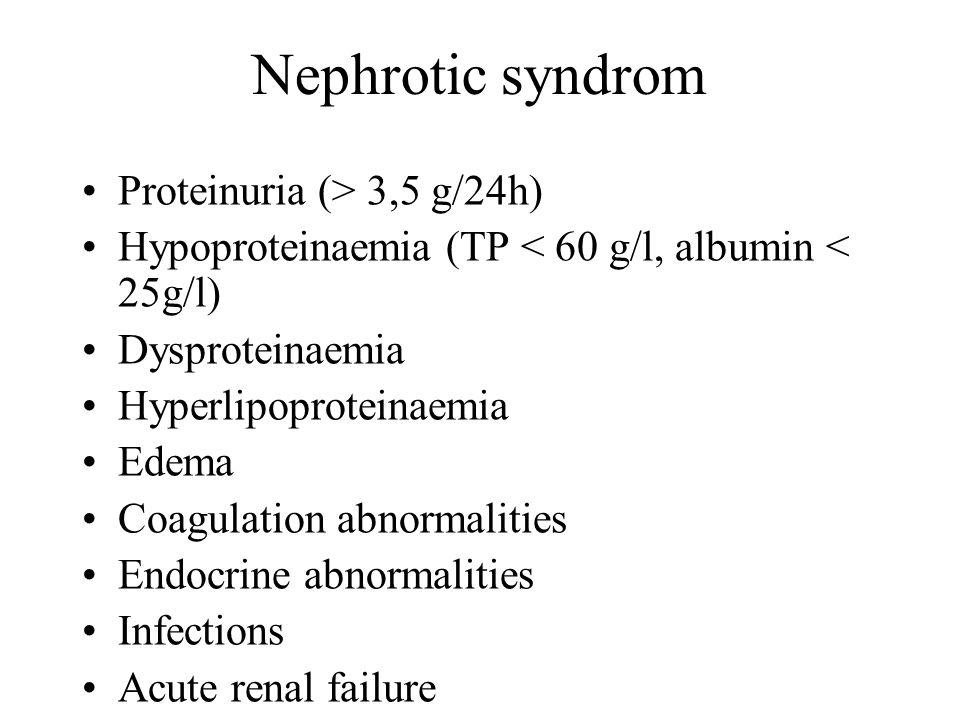 Nephrotic syndrom Proteinuria (> 3,5 g/24h) Hypoproteinaemia (TP < 60 g/l, albumin < 25g/l) Dysproteinaemia Hyperlipoproteinaemia Edema Coagulation ab