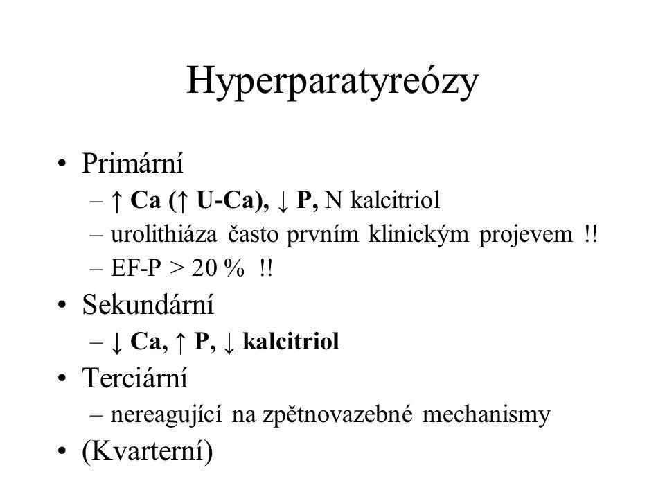 Hyperparatyreózy Primární –↑ Ca (↑ U-Ca), ↓ P, N kalcitriol –urolithiáza často prvním klinickým projevem !! –EF-P > 20 % !! Sekundární –↓ Ca, ↑ P, ↓ k