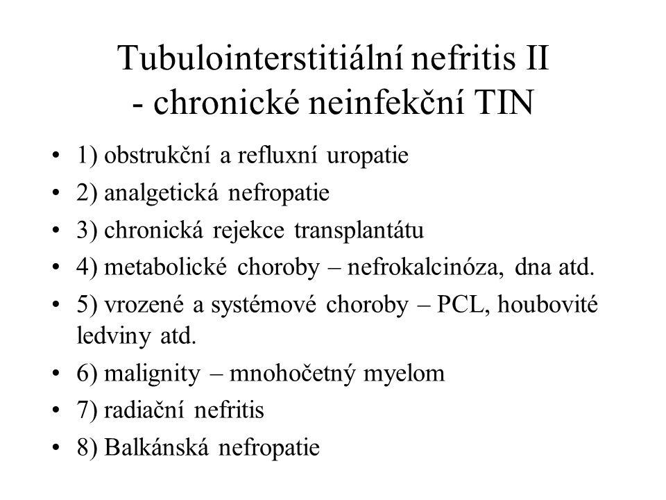 Tubulointerstitiální nefritis II - chronické neinfekční TIN 1) obstrukční a refluxní uropatie 2) analgetická nefropatie 3) chronická rejekce transplan