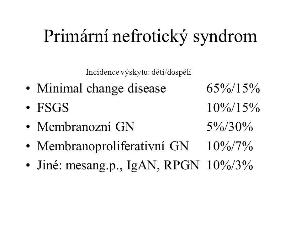 Primární nefrotický syndrom Incidence výskytu: děti/dospělí Minimal change disease65%/15% FSGS10%/15% Membranozní GN5%/30% Membranoproliferativní GN10