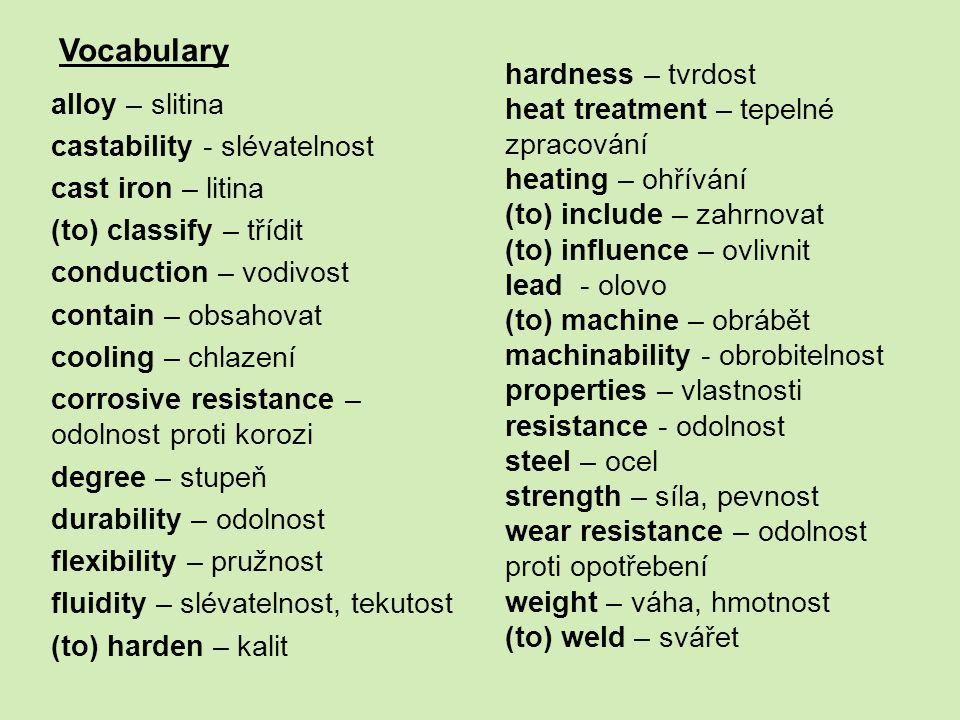 Vocabulary alloy – slitina castability - slévatelnost cast iron – litina (to) classify – třídit conduction – vodivost contain – obsahovat cooling – ch