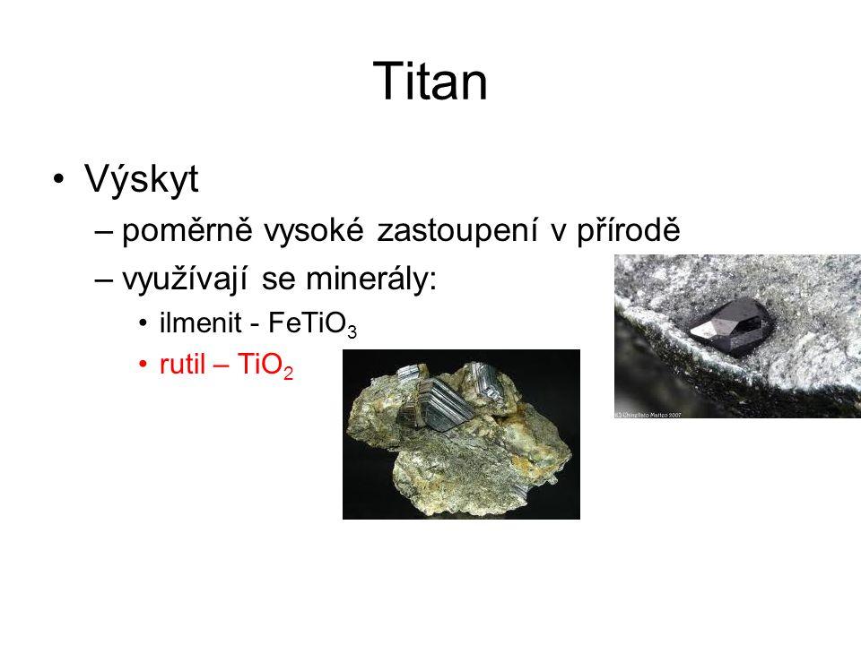 Titan Výroba –reakce s uhlíkem v proudu chloru 2 TiO 2 + 3 C + 4 Cl 2 → 2 TiCl 4 + 2 CO + CO 2 TiCl 4 se dále redukuje hořčíkem na kovový titan Sloučeniny –halogenidy jsou nestálé kapaliny nebo nízkotající sloučeniny snadno se hydrolyzují na TiO 2