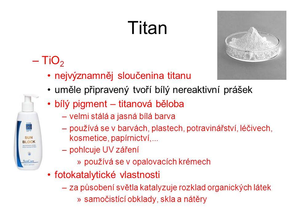 Titan Využití titanu –lehký kov s vysokou teplotou tání a dobrými mechanickými vlastnostmi –lehké pevné konstrukce letadla, kosmické lodě –zdravotně nezávadný šperky, kloubní náhrady –nitrid titanu TiN velmi tvrdá látka, potahování vrtáků