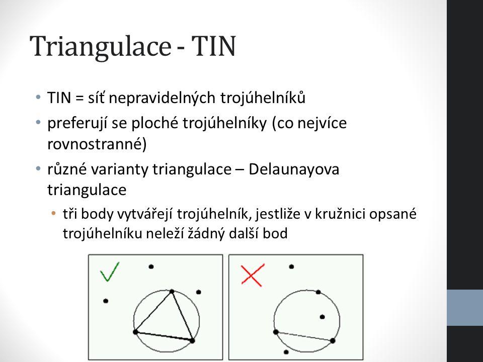 Triangulace - TIN TIN = síť nepravidelných trojúhelníků preferují se ploché trojúhelníky (co nejvíce rovnostranné) různé varianty triangulace – Delaun
