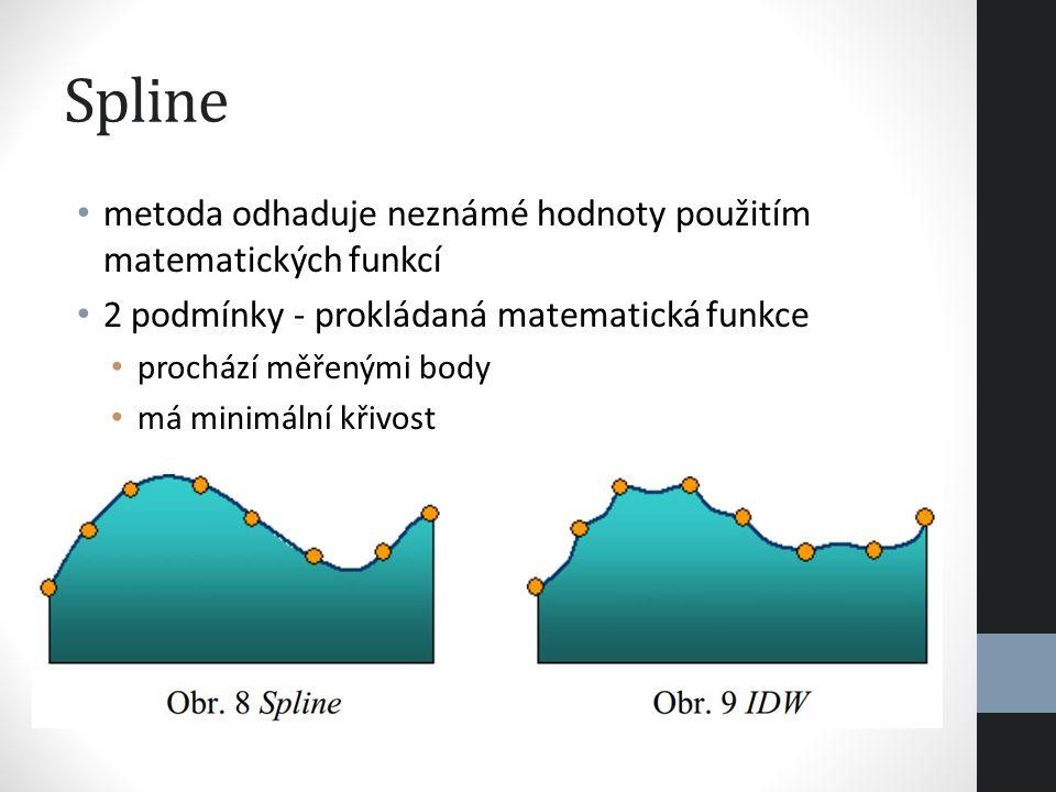 Spline metoda odhaduje neznámé hodnoty použitím matematických funkcí 2 podmínky - prokládaná matematická funkce prochází měřenými body má minimální kř