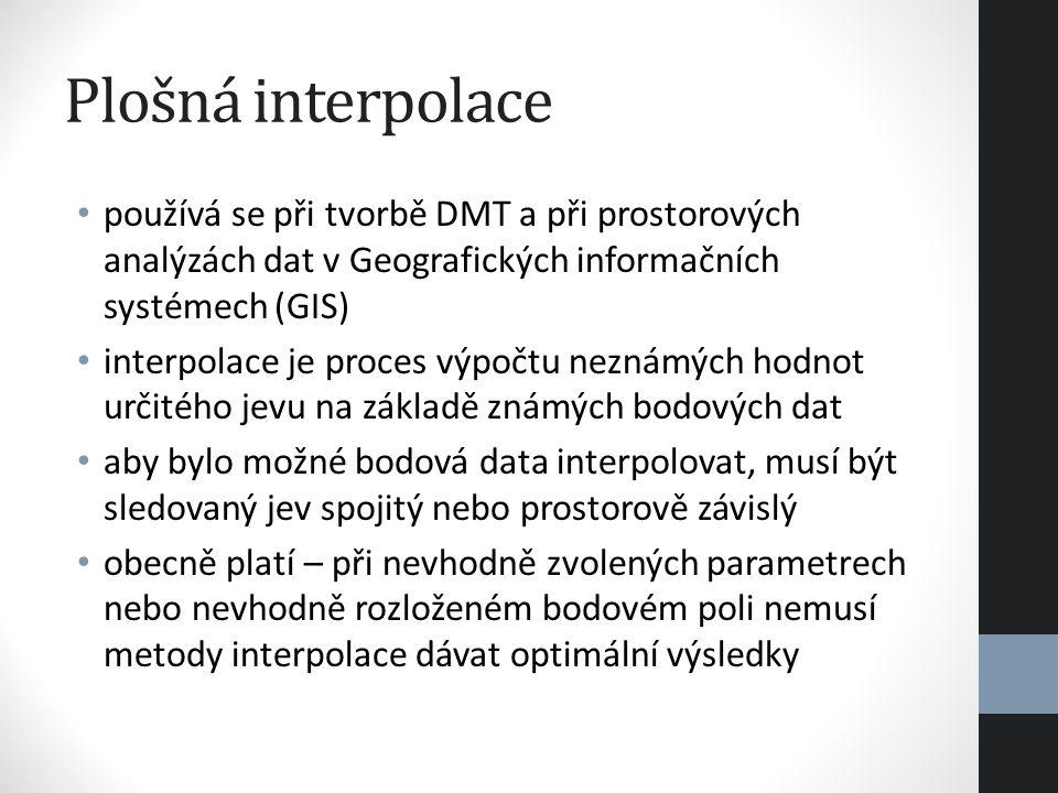 Plošná interpolace používá se při tvorbě DMT a při prostorových analýzách dat v Geografických informačních systémech (GIS) interpolace je proces výpoč