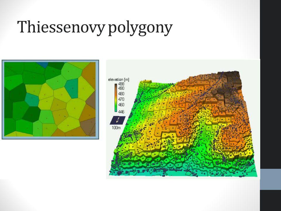 Metoda přirozeného souseda využívá pro určení vah Thiessenovy polygony vložení interpolovaného bodu do sítě Thies.