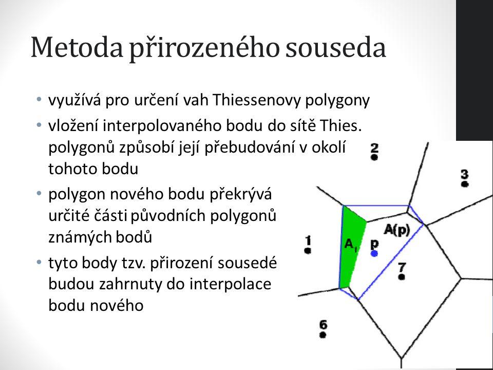 Metoda přirozeného souseda váhy přirozených sousedů jsou plochy oddělené z původních polygonů jednotlivých sousedů metoda je efektivní, jestliže jsou měřené hodnoty umístěny pravidelně výsledná struktura jevu je spojitá a vyhlazená bez extrapolovaných hodnot