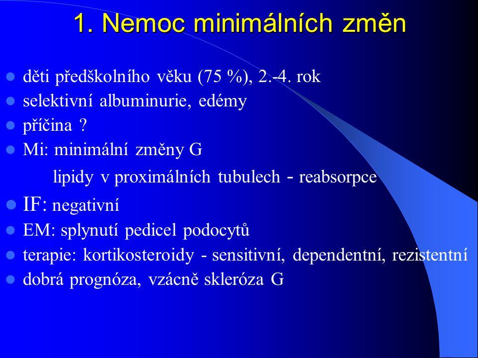 1.Nemoc minimálních změn děti předškolního věku (75 %), 2.-4.
