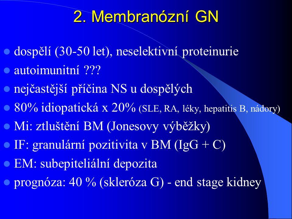 2.Membranózní GN dospělí (30-50 let), neselektivní proteinurie autoimunitní ??.