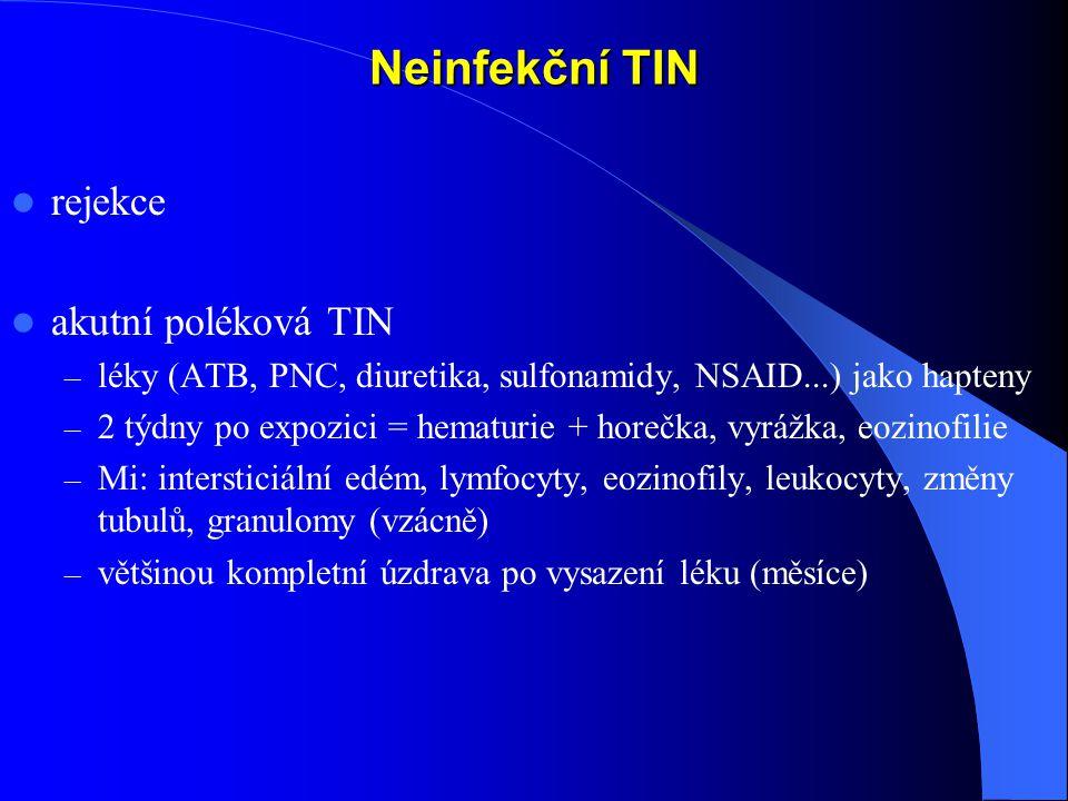 Neinfekční TIN rejekce akutní poléková TIN – léky (ATB, PNC, diuretika, sulfonamidy, NSAID...) jako hapteny – 2 týdny po expozici = hematurie + horečka, vyrážka, eozinofilie – Mi: intersticiální edém, lymfocyty, eozinofily, leukocyty, změny tubulů, granulomy (vzácně) – většinou kompletní úzdrava po vysazení léku (měsíce)