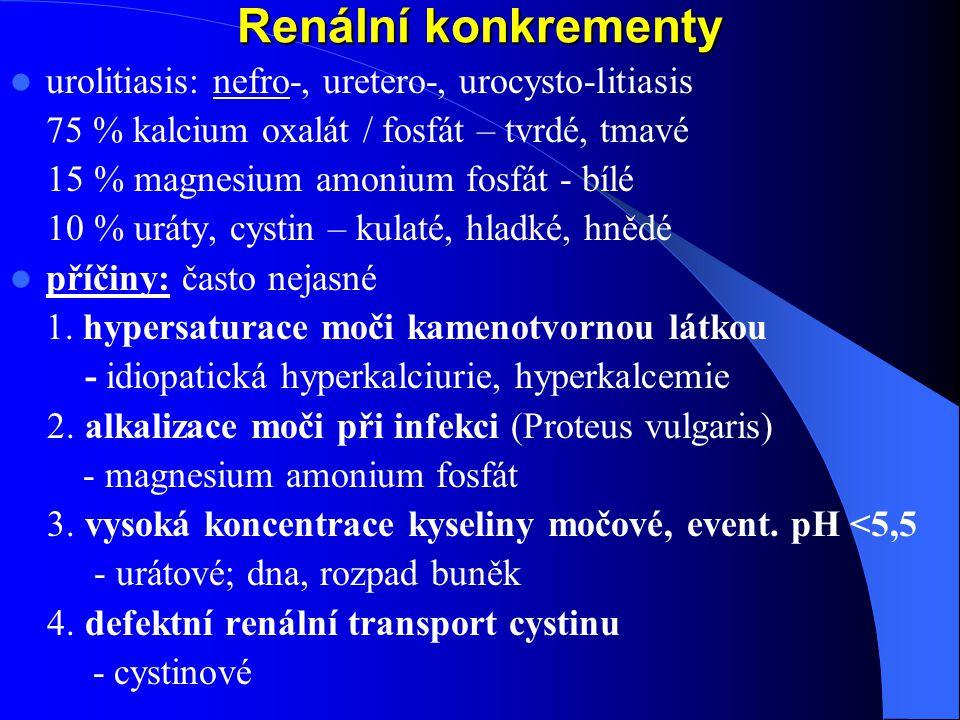 Renální konkrementy urolitiasis: nefro-, uretero-, urocysto-litiasis 75 % kalcium oxalát / fosfát – tvrdé, tmavé 15 % magnesium amonium fosfát - bílé 10 % uráty, cystin – kulaté, hladké, hnědé příčiny: často nejasné 1.