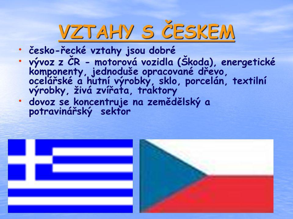 VZTAHY S ČESKEM česko-řecké vztahy jsou dobré vývoz z ČR - motorová vozidla (Škoda), energetické komponenty, jednoduše opracované dřevo, ocelářské a h