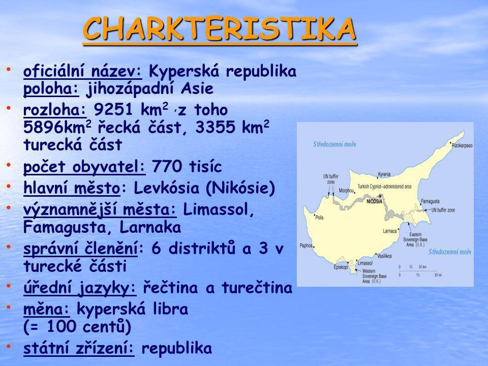 CHARKTERISTIKA oficiální název: Kyperská republika poloha: jihozápadní Asie rozloha: 9251 km 2, z toho 5896km 2 řecká část, 3355 km 2 turecká část poč