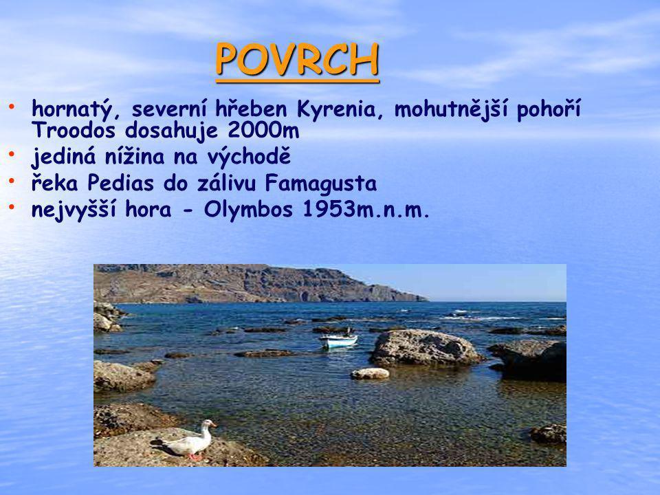 POVRCH hornatý, severní hřeben Kyrenia, mohutnější pohoří Troodos dosahuje 2000m jediná nížina na východě řeka Pedias do zálivu Famagusta nejvyšší hor