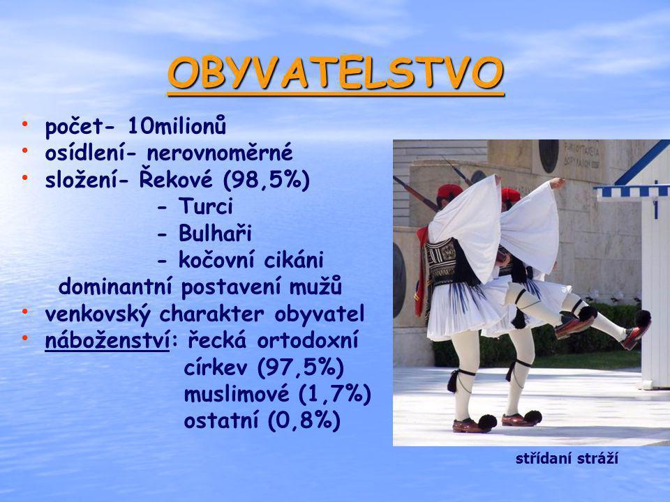 OBYVATELSTVO počet- 10milionů osídlení- nerovnoměrné složení- Řekové (98,5%) - Turci - Bulhaři - kočovní cikáni dominantní postavení mužů venkovský ch