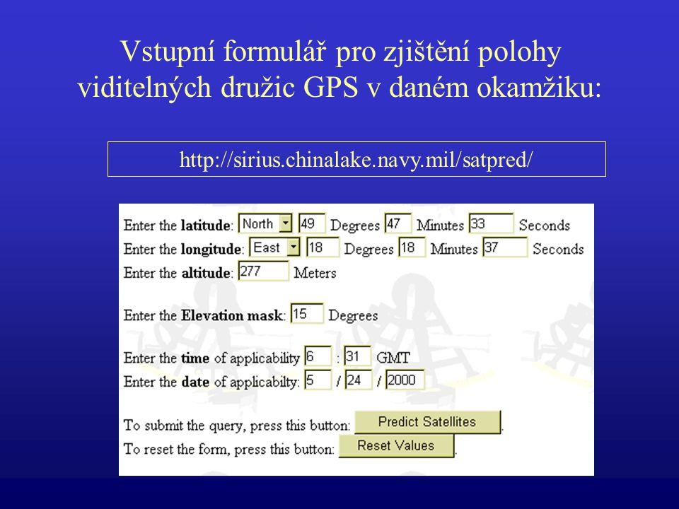 Vstupní formulář pro zjištění polohy viditelných družic GPS v daném okamžiku: http://sirius.chinalake.navy.mil/satpred/