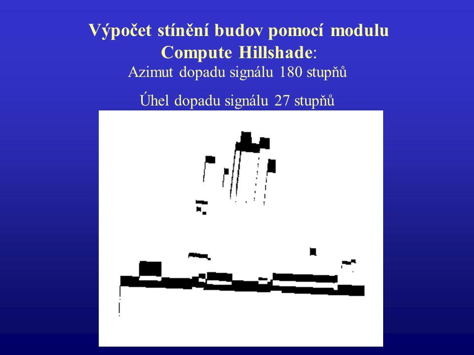 Výpočet stínění budov pomocí modulu Compute Hillshade: Azimut dopadu signálu 180 stupňů Úhel dopadu signálu 27 stupňů