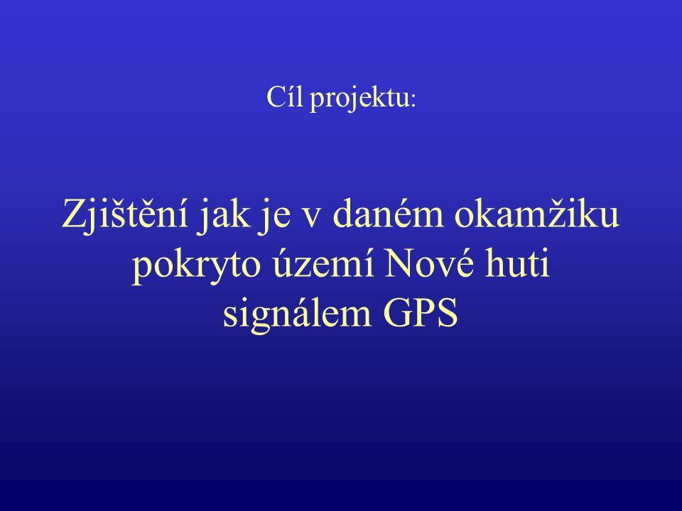 Zjištění jak je v daném okamžiku pokryto území Nové huti signálem GPS Cíl projektu :
