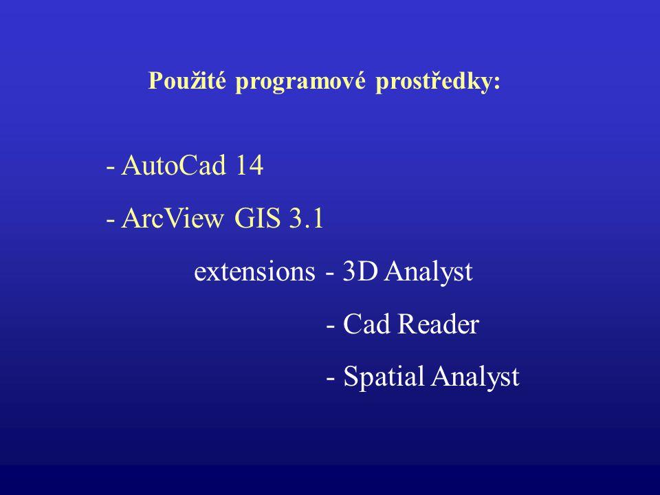 Použité programové prostředky: - AutoCad 14 - ArcView GIS 3.1 extensions - 3D Analyst - Cad Reader - Spatial Analyst