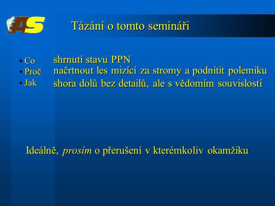 Tázání o tomto semináři shrnutí stavu PPN shrnutí stavu PPN Co Co Proč Proč Jak Jak Ideálně, prosím o přerušení v kterémkoliv okamžiku Ideálně, prosím