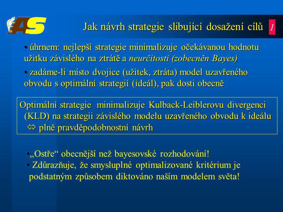 """Jak návrh strategie slibující dosažení cílů úhrnem: nejlepší strategie minimalizuje očekávanou hodnotu užitku závislého na ztrátě a neurčitosti (zobecněn Bayes) úhrnem: nejlepší strategie minimalizuje očekávanou hodnotu užitku závislého na ztrátě a neurčitosti (zobecněn Bayes) zadáme-li místo dvojice (užitek, ztráta) model uzavřeného obvodu s optimální strategií (ideál), pak dosti obecně zadáme-li místo dvojice (užitek, ztráta) model uzavřeného obvodu s optimální strategií (ideál), pak dosti obecně """"Ostře obecnější než bayesovské rozhodování."""