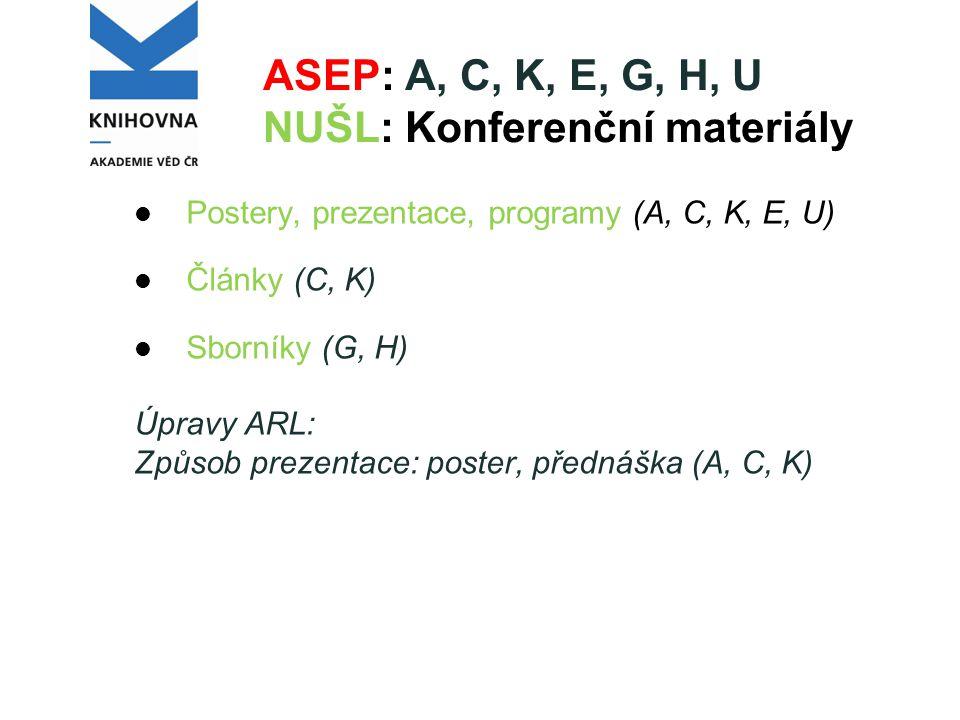 ASEP: A, C, K, E, G, H, U NUŠL: Konferenční materiály Postery, prezentace, programy (A, C, K, E, U) Články (C, K) Sborníky (G, H) Úpravy ARL: Způsob prezentace: poster, přednáška (A, C, K)