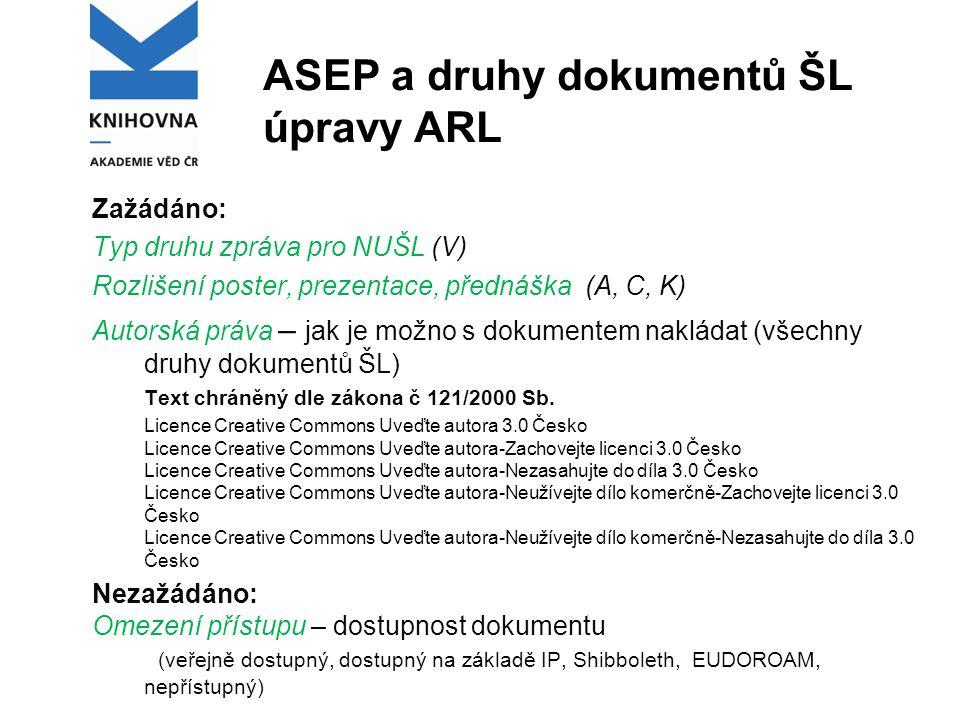 ASEP a druhy dokumentů ŠL úpravy ARL Zažádáno: Typ druhu zpráva pro NUŠL (V) Rozlišení poster, prezentace, přednáška (A, C, K) Autorská práva – jak je