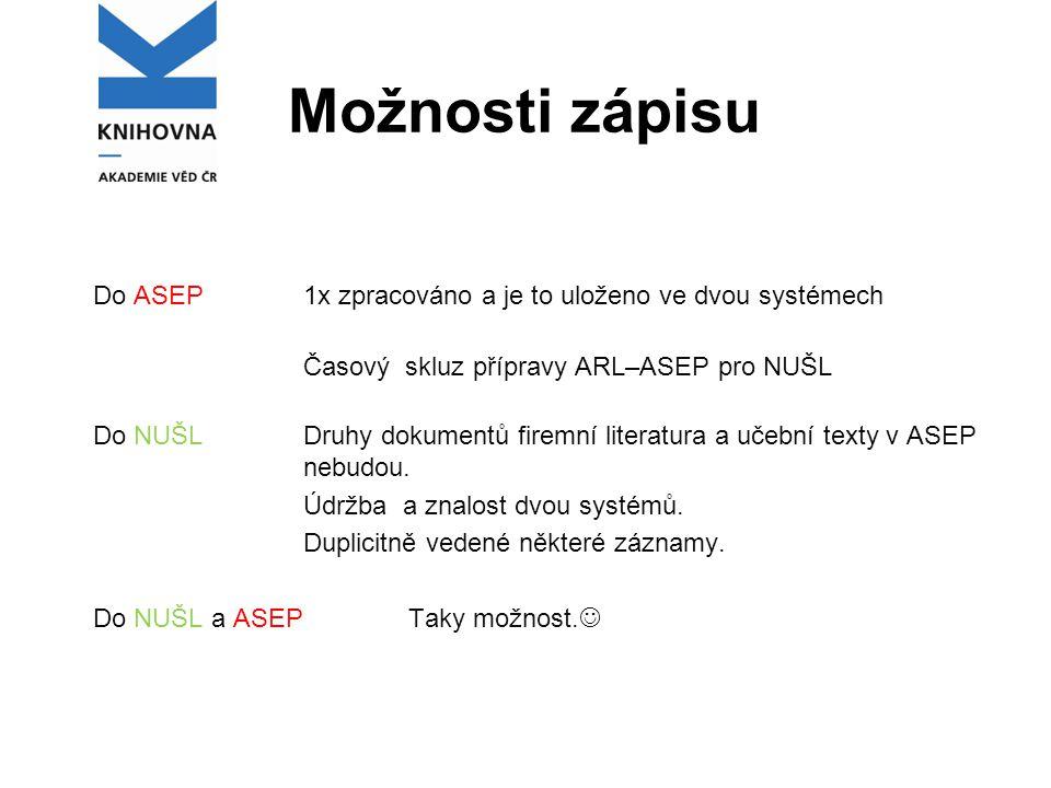 Možnosti zápisu Do ASEP1x zpracováno a je to uloženo ve dvou systémech Časový skluz přípravy ARL–ASEP pro NUŠL Do NUŠL Druhy dokumentů firemní literat