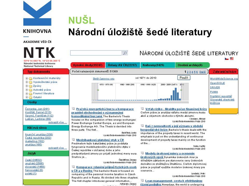 NUŠL Národní úložiště šedé literatury