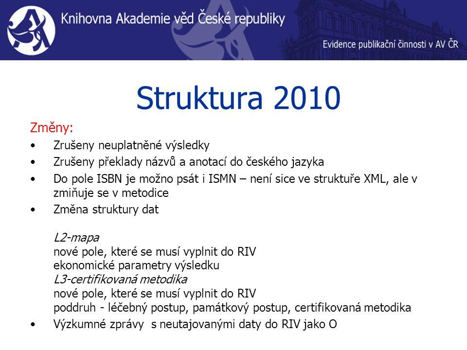 Struktura 2010 Změny: Zrušeny neuplatněné výsledky Zrušeny překlady názvů a anotací do českého jazyka Do pole ISBN je možno psát i ISMN – není sice ve struktuře XML, ale v zmiňuje se v metodice Změna struktury dat L2-mapa nové pole, které se musí vyplnit do RIV ekonomické parametry výsledku L3-certifikovaná metodika nové pole, které se musí vyplnit do RIV poddruh - léčebný postup, památkový postup, certifikovaná metodika Výzkumné zprávy s neutajovanými daty do RIV jako O