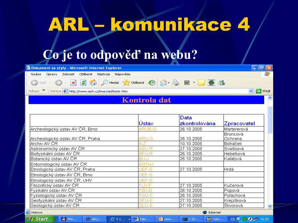 ARL – komunikace 4 Co je to odpověď na webu