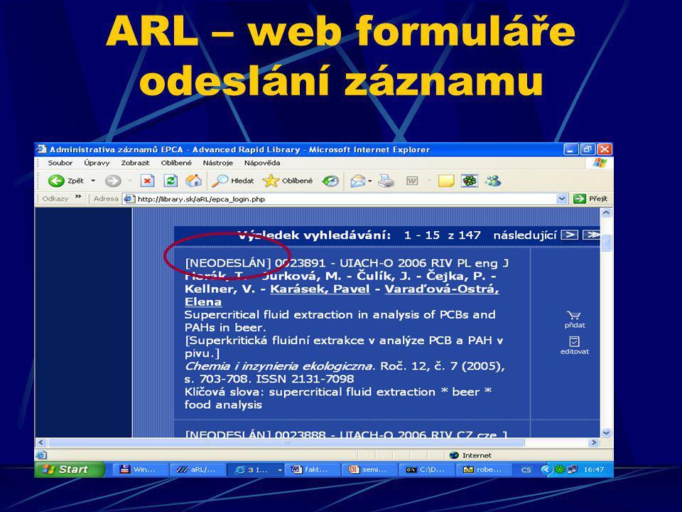 ARL – web formuláře odeslání záznamu
