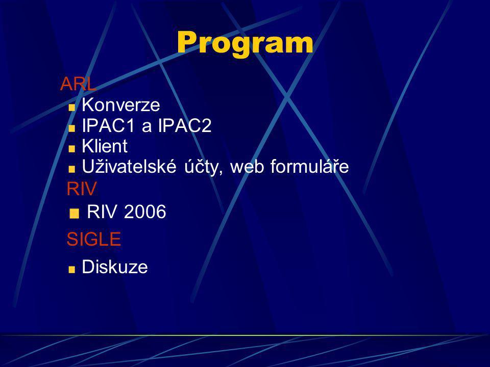 Program ARL Konverze IPAC1 a IPAC2 Klient Uživatelské účty, web formuláře RIV RIV 2006 SIGLE Diskuze
