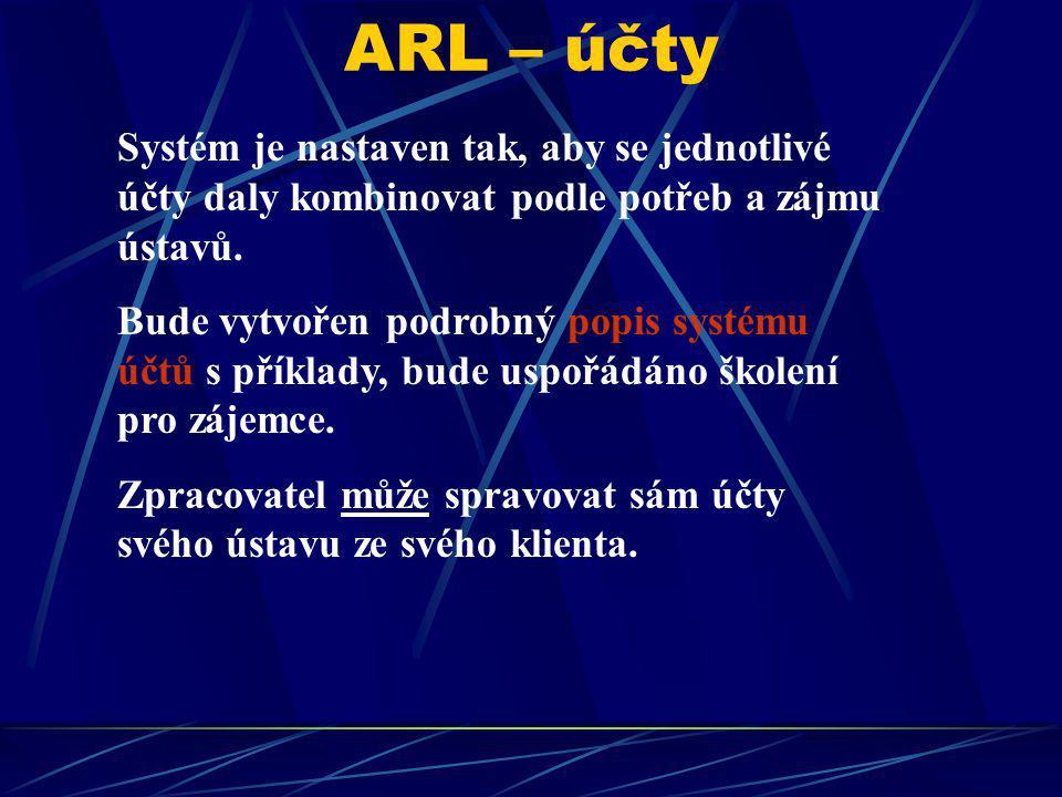 ARL – účty Systém je nastaven tak, aby se jednotlivé účty daly kombinovat podle potřeb a zájmu ústavů. Bude vytvořen podrobný popis systému účtů s pří