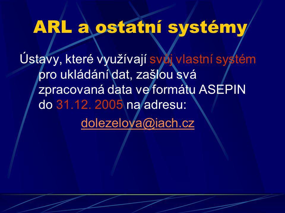 ARL a ostatní systémy Ústavy, které využívají svůj vlastní systém pro ukládání dat, zašlou svá zpracovaná data ve formátu ASEPIN do 31.12. 2005 na adr