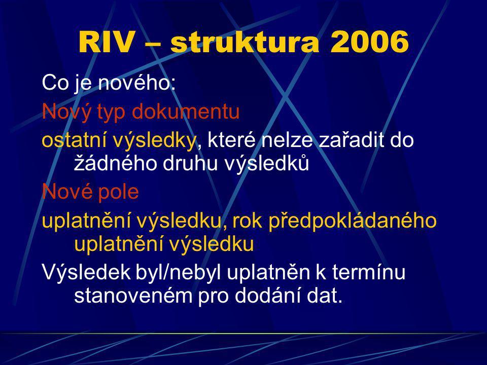 RIV – struktura 2006 Co je nového: Nový typ dokumentu ostatní výsledky, které nelze zařadit do žádného druhu výsledků Nové pole uplatnění výsledku, ro