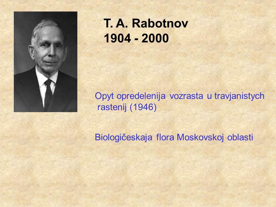 T. A. Rabotnov 1904 - 2000 Opyt opredelenija vozrasta u travjanistych rastenij (1946) Biologičeskaja flora Moskovskoj oblasti