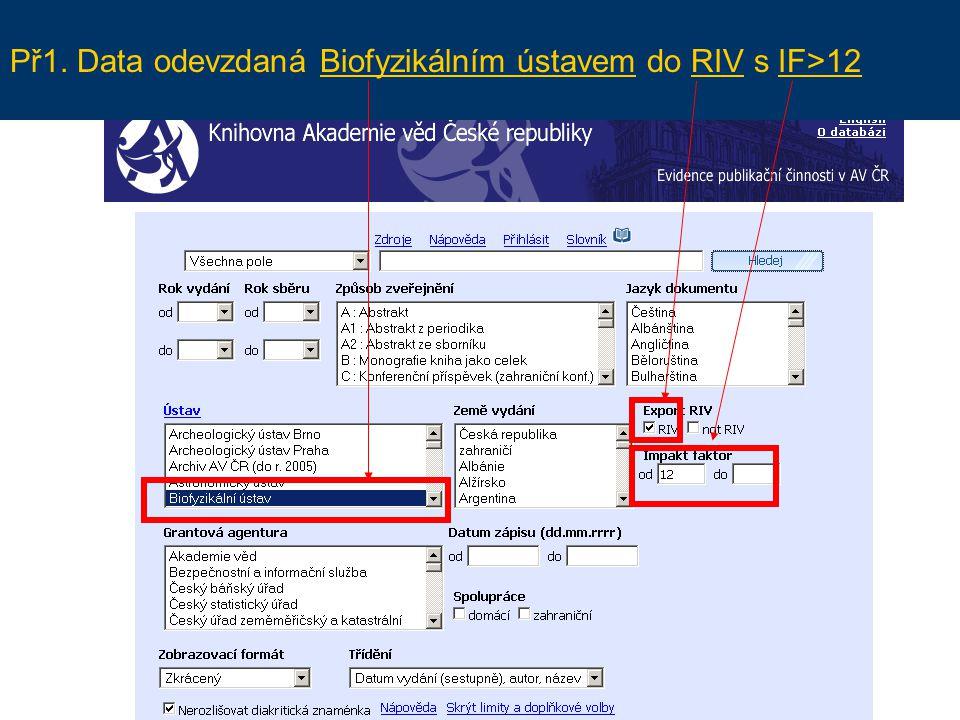 Př1. Data odevzdaná Biofyzikálním ústavem do RIV s IF>12