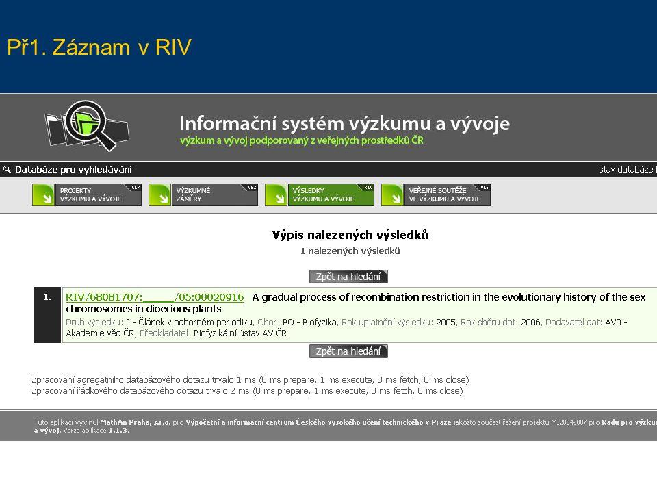 Př1. Záznam v RIV