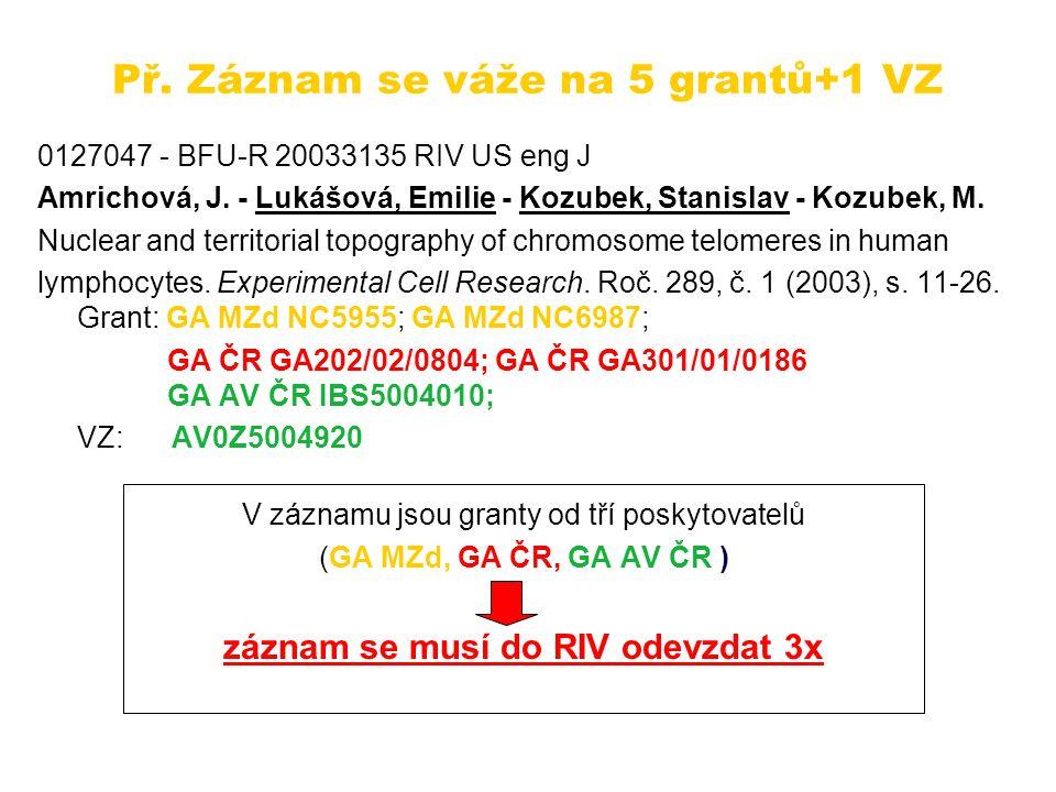 Př. Záznam se váže na 5 grantů+1 VZ 0127047 - BFU-R 20033135 RIV US eng J Amrichová, J.
