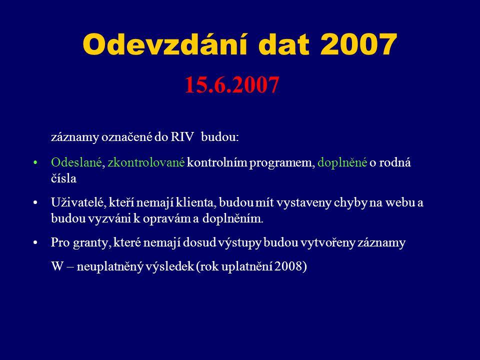 Odevzdání dat 2007 15.6.2007 záznamy označené do RIV budou: Odeslané, zkontrolované kontrolním programem, doplněné o rodná čísla Uživatelé, kteří nemají klienta, budou mít vystaveny chyby na webu a budou vyzváni k opravám a doplněním.