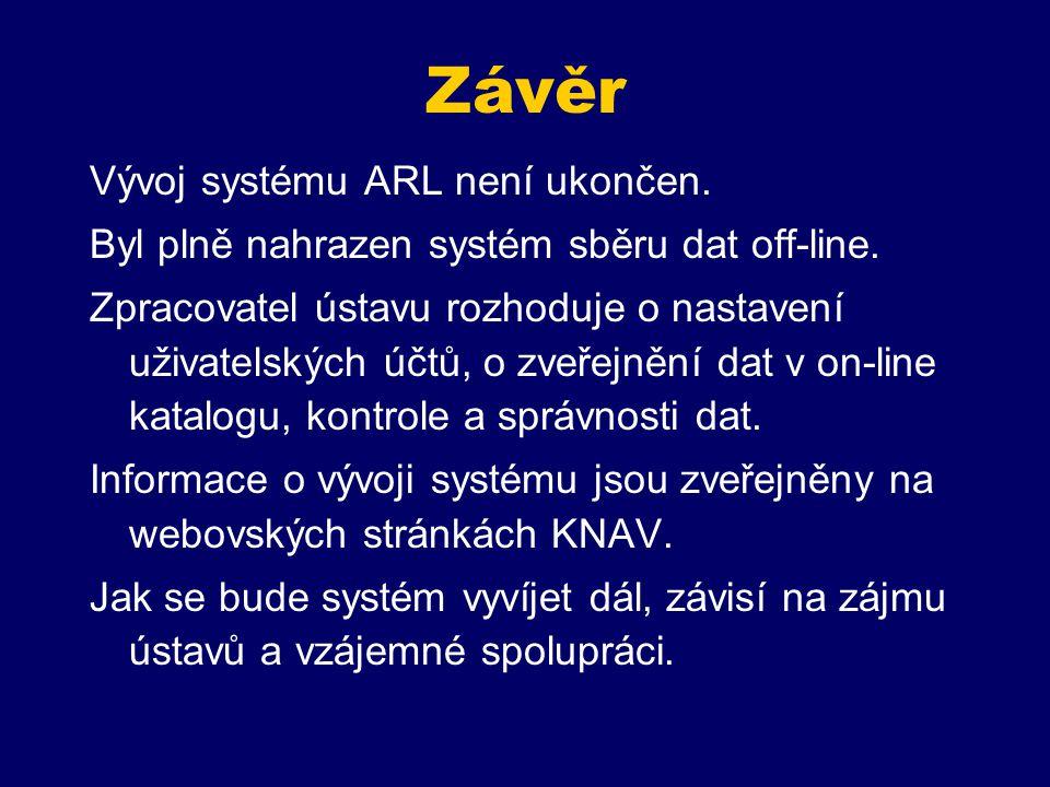 Závěr Vývoj systému ARL není ukončen. Byl plně nahrazen systém sběru dat off-line.