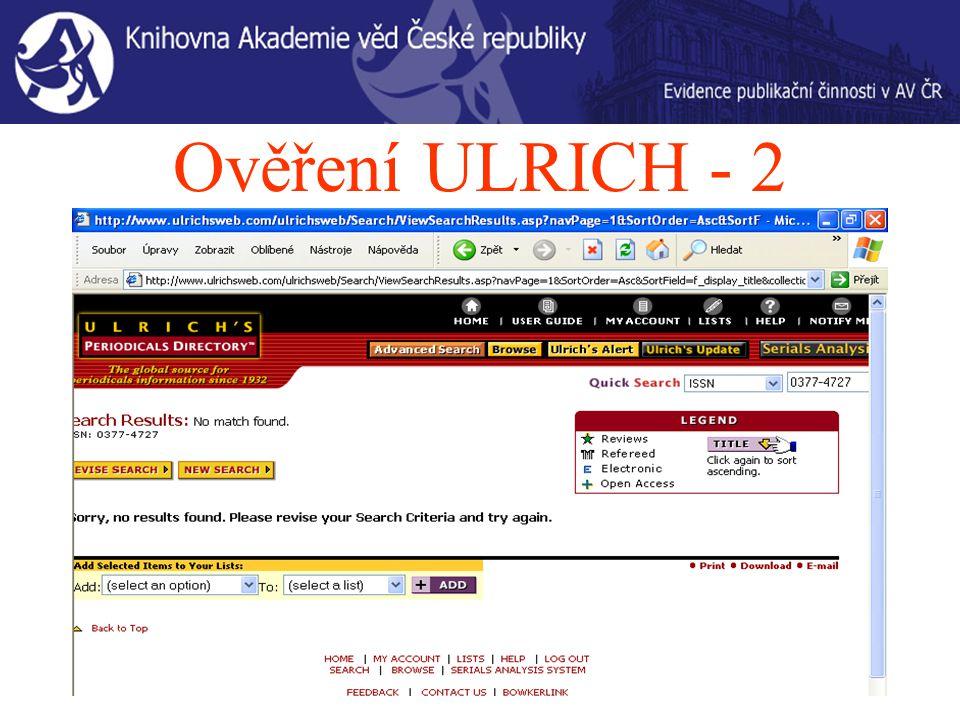 Ověření ULRICH - 2