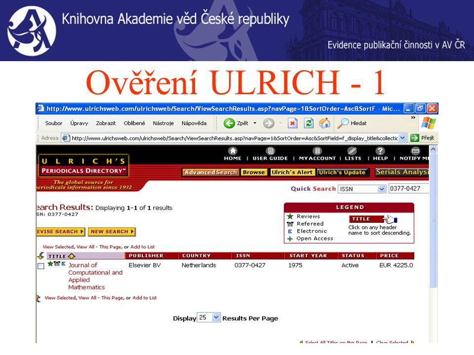 Ověření ULRICH - 1