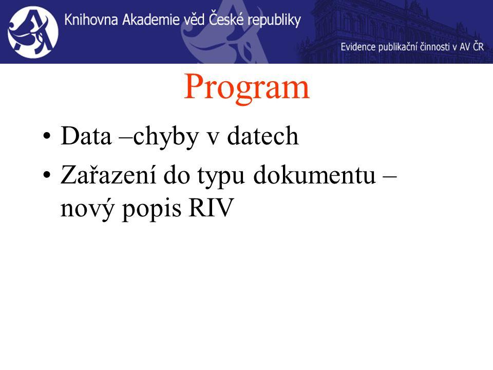 Program Data –chyby v datech Zařazení do typu dokumentu – nový popis RIV