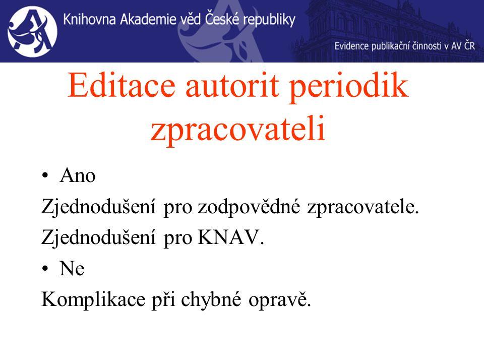 Editace autorit periodik zpracovateli Ano Zjednodušení pro zodpovědné zpracovatele.
