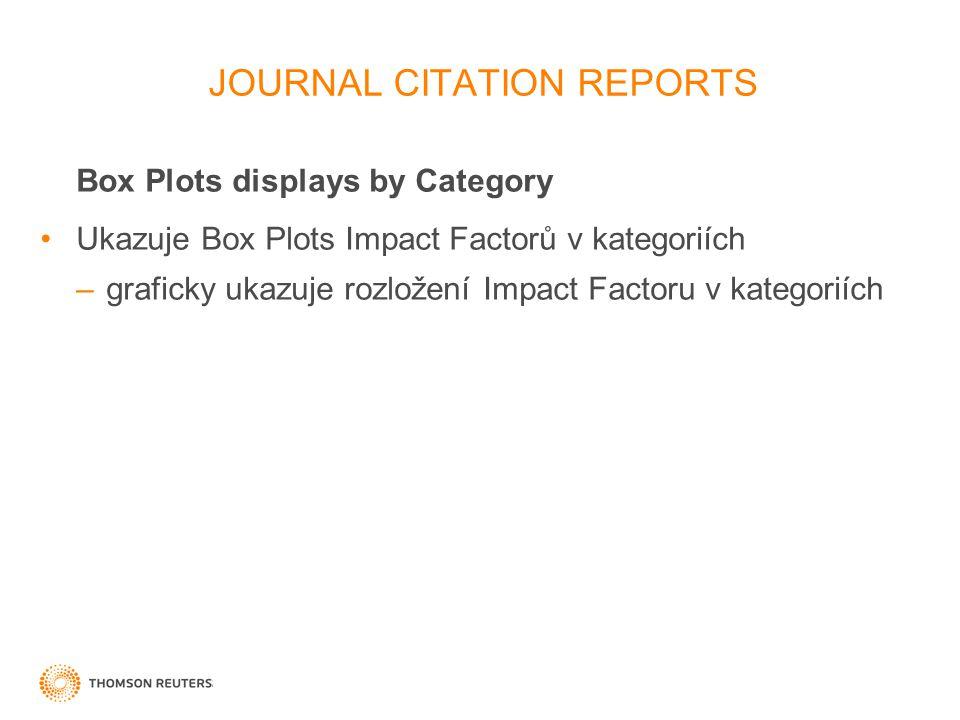 29 Box Plots displays by Category Ukazuje Box Plots Impact Factorů v kategoriích –graficky ukazuje rozložení Impact Factoru v kategoriích JOURNAL CITATION REPORTS