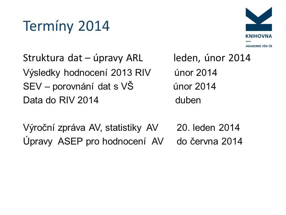 Termíny 2014 Struktura dat – úpravy ARL leden, únor 2014 Výsledky hodnocení 2013 RIV únor 2014 SEV – porovnání dat s VŠ únor 2014 Data do RIV 2014 duben Výroční zpráva AV, statistiky AV 20.